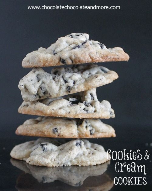 Cookies and Cream Cookies, made with both Oreos and Hershey's Cookies and Cream Chocolate Bars!