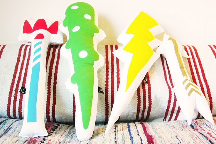 A pillow fight set of plush weapons that is fit as home decor! Olympic Pillow Fight set by Heavy Baggage Design  / Greek Design and Making