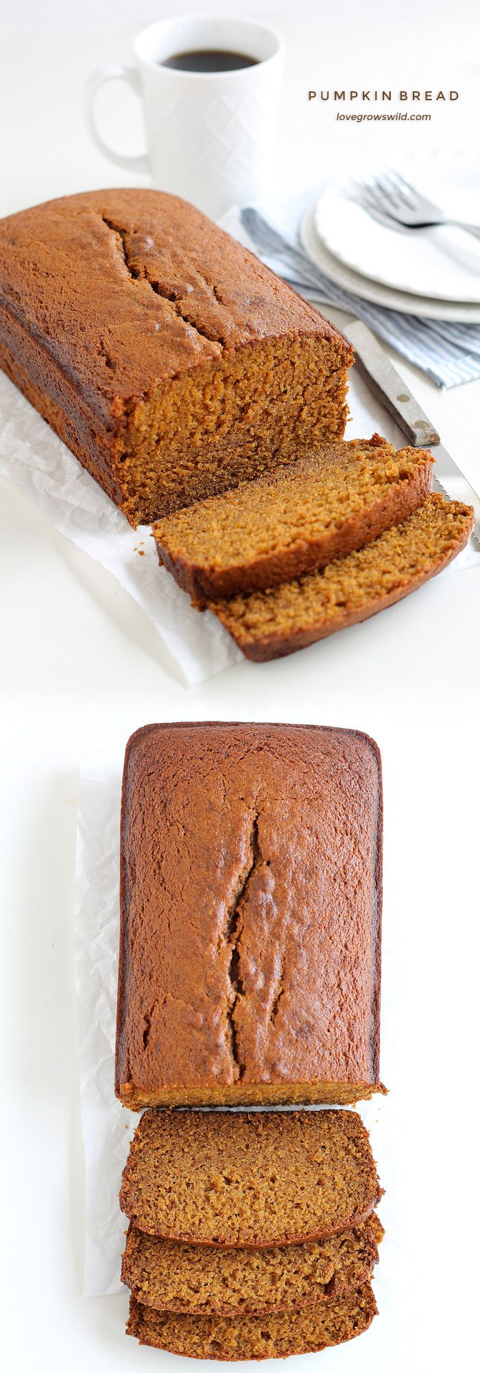 This pumpkin bread recipe will knock your socks off! Moist, sweet, and full of pumpkin flavor! | LoveGrowsWild.com