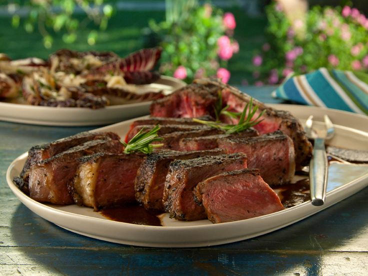 Bistecca alla Florentine with Balsamic-Rosemary Steak Sauce and Grilled Treviso with Gorgonzola Recipe : Bobby Flay : Food Network - FoodNetwork.com