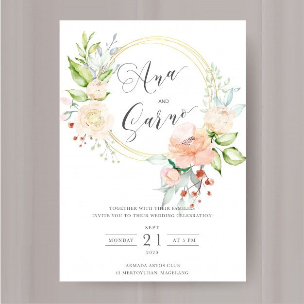 Elegant Floral Invitation With Watercolor Flowers Frame Flower Frame Watercolor Flowers Floral Invitation