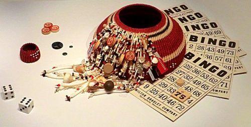 "Linda Aguilar (Chumash), ""The Bingo One"", mixed media, 2011. Photo-Alex Jacobs"