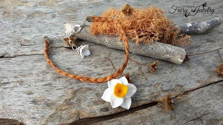 Bracciale narciso treccia pelle regolabile fiori natura gioielli bigiotteria, by Evangela Fairy Jewelry, 7,00 € su misshobby.com