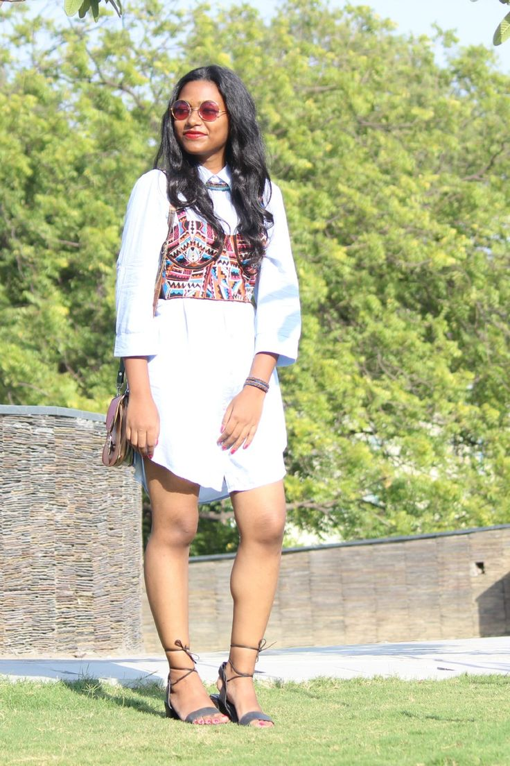 Bridgette | Over And Out Bridgette Tirkey Roseleen Tirkey Indian Fashion Blog Indian Fashion Bloggers Indian Street Style Street Style Shirt Dress Bralette Satchel Tie up Sandals In Style Custody