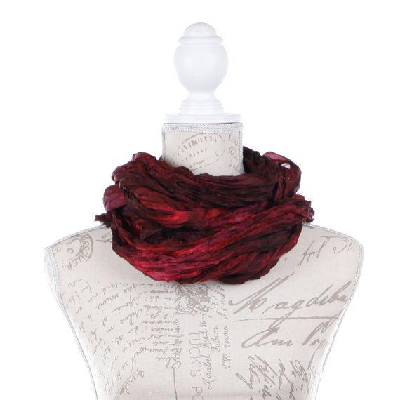 Burgundy silk wrinkled scarf for women /  No iron dark red