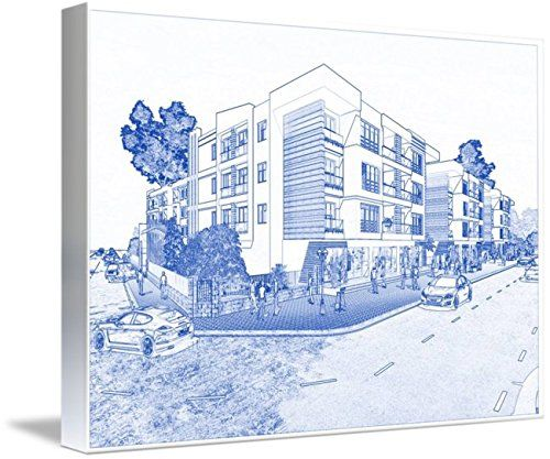 Wall Art Print entitled Blueprint Drawing Of Modern Apartment Complex No 1 by Celestial Images | 48 x 34