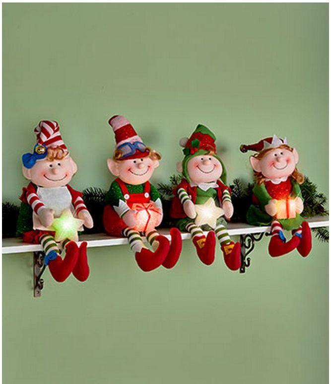Holiday iluminada de color cambiante Elf Estante Sitter Navidad Muñeco de decoración del hogar