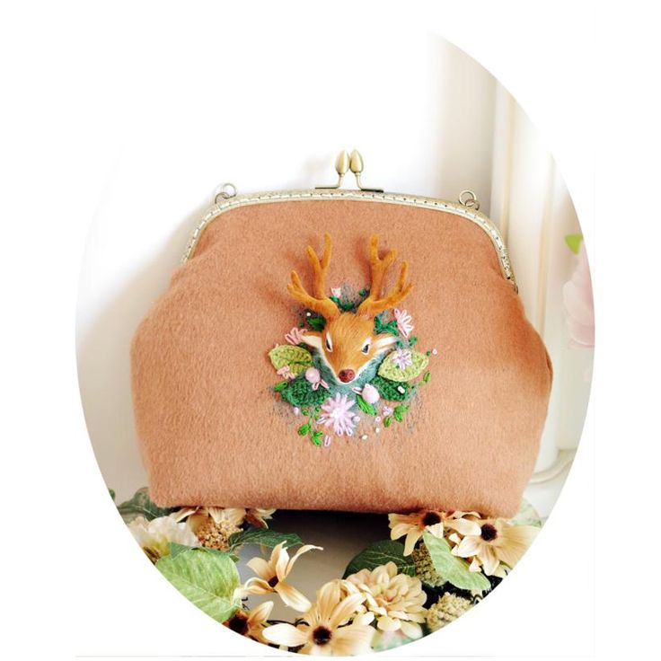 Cashmere Bags with Deer Buck Wildlife Embroidery Florals Beads Wollen Felt Party Clutch Vintage Metal Bags Ginger and Wine