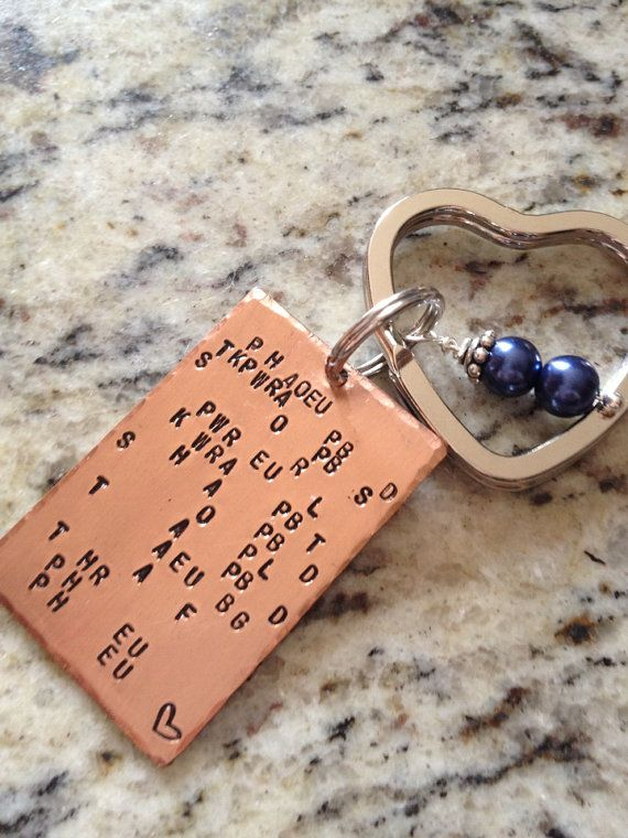 Court Reporter Keychain written in your steno theory - personalize with your phrase, names or numbers