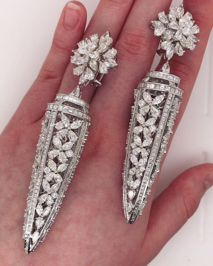 Diana M Jewels On Instagram Unique Designed Diamond Earrings Features 44 00 Cts Of Multi Shape Diamond Unique Diamond Earrings Real Diamond Earrings Diamond