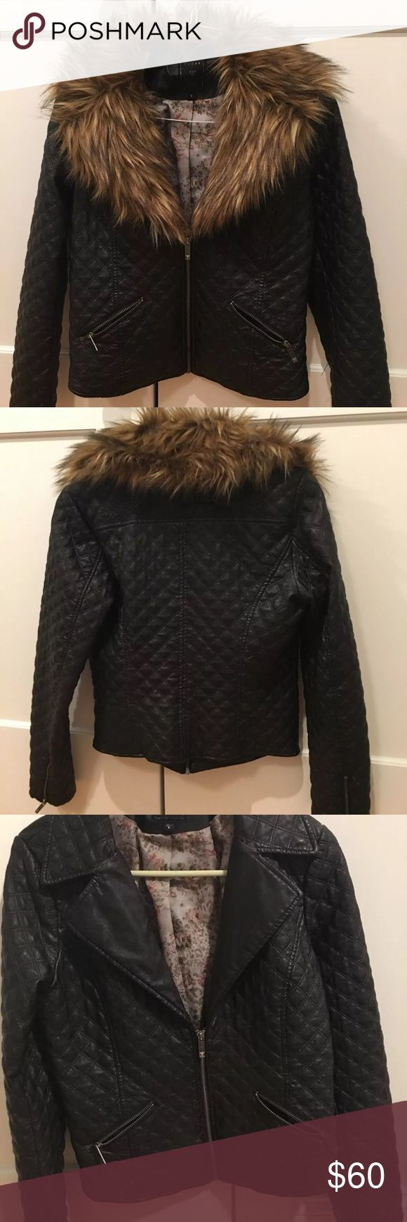 faux leather jacket Faux leather jacket with optional faux fur. Guess Jackets & Coats