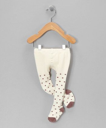 Ivory & Taupe Polka Dot Tights. Petit Confection.