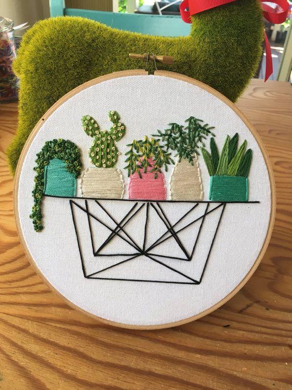Succulents on wire table hand embroidery , succulents , cactus art , pastel , pot plants