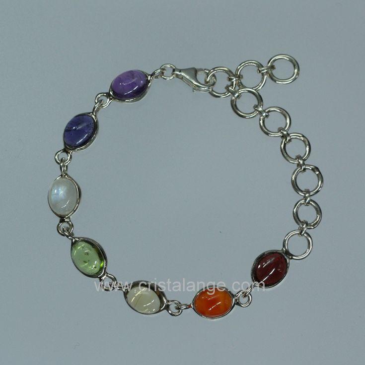 Bracelet pierres fines naturelles aux couleurs des chakras