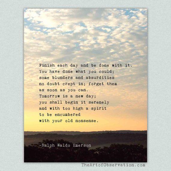 Inspirational Quote Art Print, Life, Emerson, Sunrise