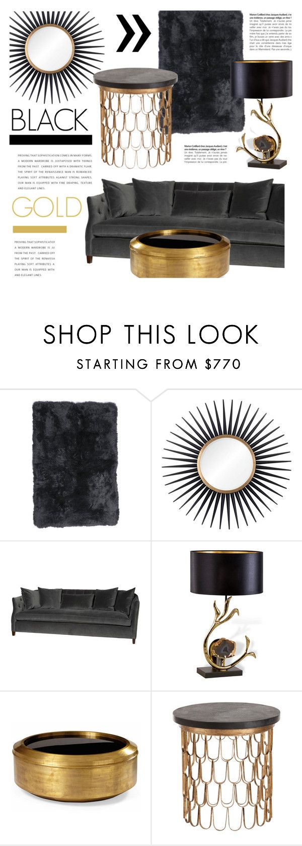 """Black & Gold Decor"" by kathykuohome ❤ liked on Polyvore featuring interior, interiors, interior design, home, home decor, interior decorating, Otis, gold, black and Home"