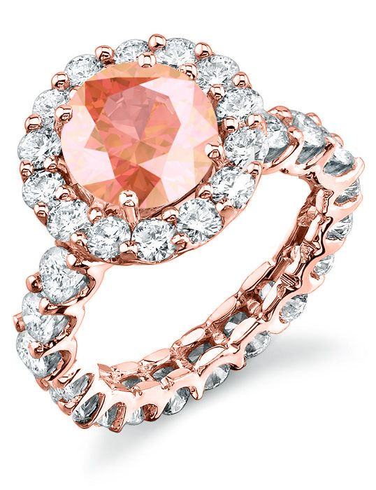 Morganite rose gold eternity engagement ring.