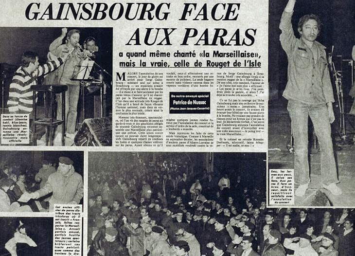 ゲンズブールは「ラ・マルセイエズ」をレゲエにして物議を醸した.サイン会やコンサートは相次いで中止され,ストラスブールでは「不遜」…