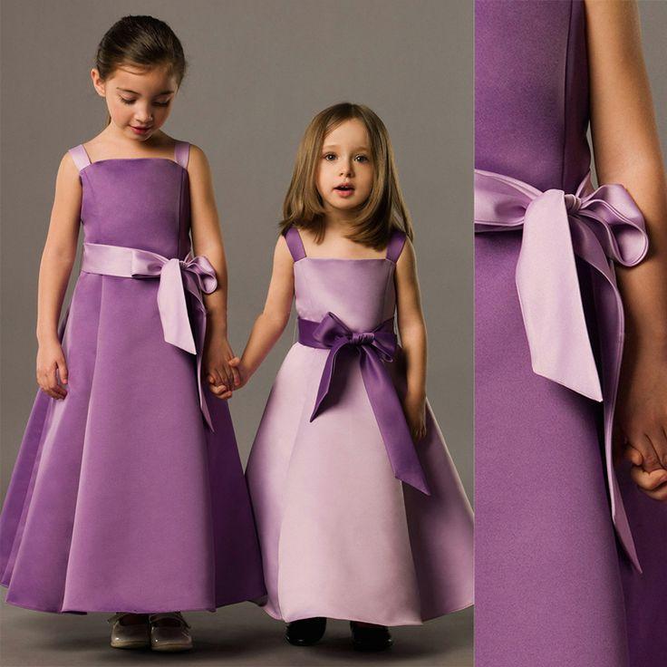 Ас картина трапециевидный завязки бант минимальный уровень длина атлас платья девочки дети свадьба красивый цветок девочка платья