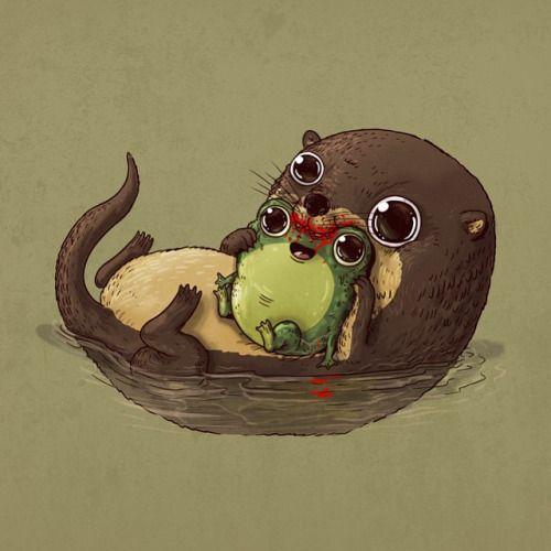Otter & Frog #adorablecircleoflife Predator & Prey