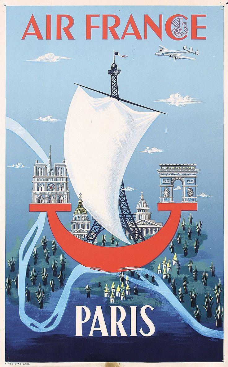 Original 1950s Air France Paris Travel Poster Bilon Art
