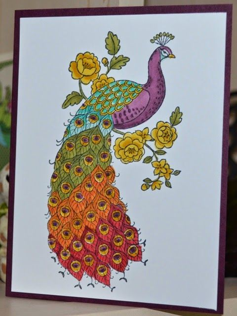 handmade card from Ink It Up ... clean and simple design ... exotic peacock colored in rainbow pattern of colors ... Perfect Peacock ... delightrful! ... Stampin'Up!