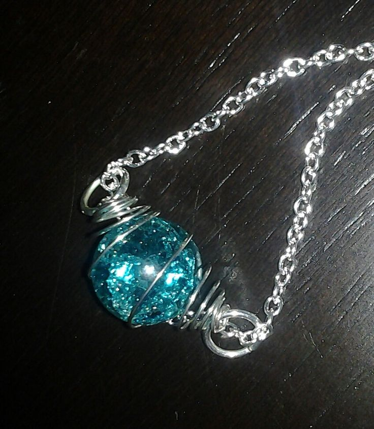 Resin Faux Crystal Wire Wrapped Pendant Necklace Diy: Fried Cracked Clear Ice Blue Crystal Look Marble Pendant