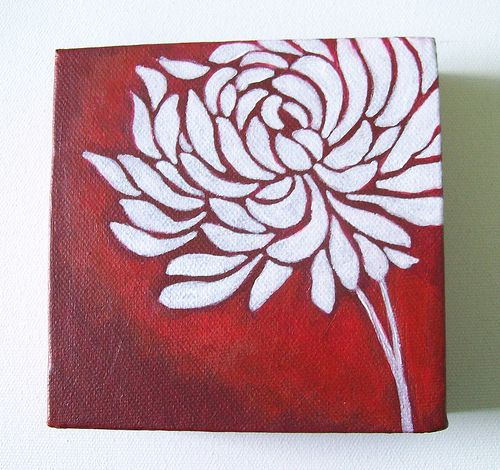 Easy Acrylic Painting On Canvas | Chrysanthemum - Original Painting on Canvas 5 x 5 inches