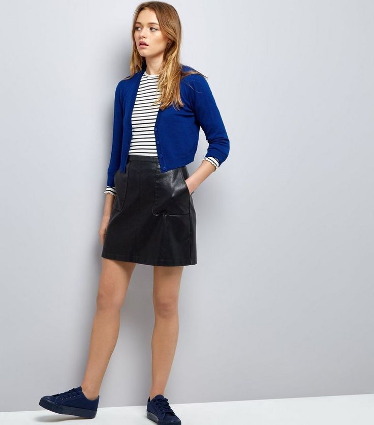New Look(ニュールック)   New Look Blue 3/4 Sleeve Cropped Cardigan - MILANDA(ミランダ)通販