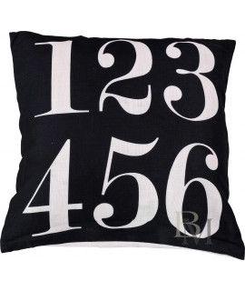 Poszewka Numbers czarna 45x45 cm