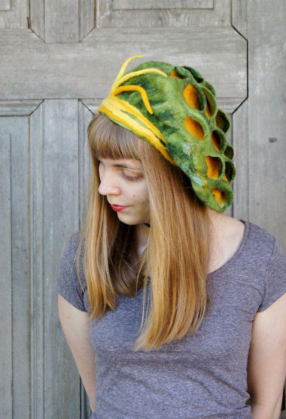 Unique elegant felted beret designer hat spring by filcAlki