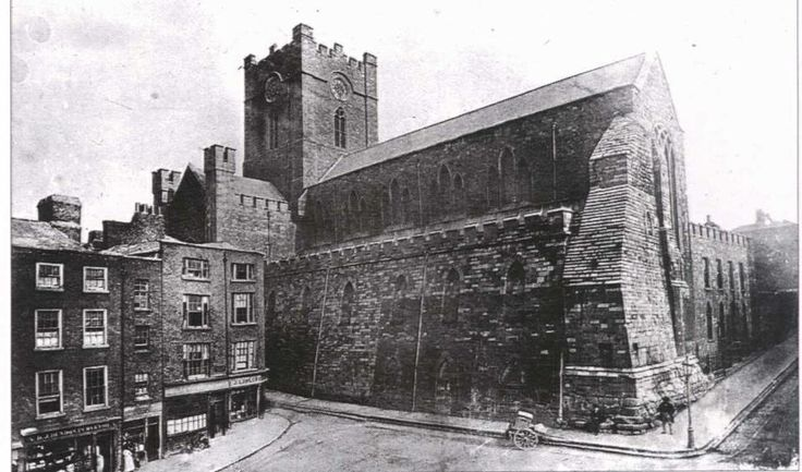 Christchurch Cathedral seen from Winetavern St, prior to its transformation in the 1870s.