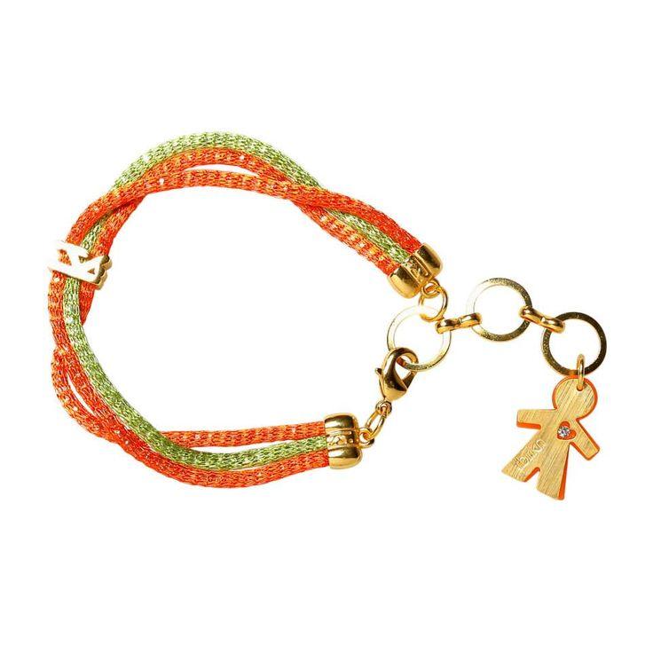 Linea #rainbow by #birikini: bracciale tre fili colore arancio e verde
