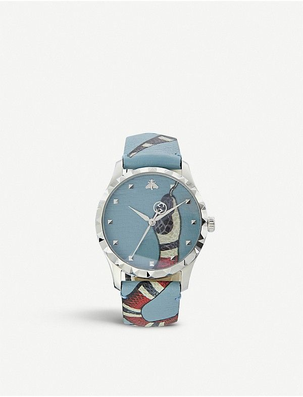49f63fd3de9 GUCCI - YA1264080 G-Timeless leather and stainless steel watch ...