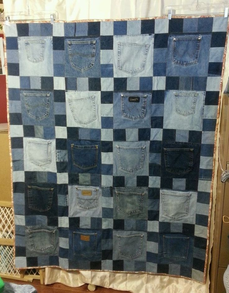 Handmade Upcycled Blue Jean Denim Throw/Lap/Picnic Quilt With Back Pockets 50x62