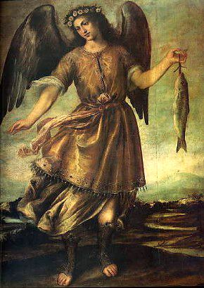 "St. Raphael, whose name imeans ""God heals"", is usually depicted holding a jug of oil for anointing, or a fish which represents the soul and the oil of healing of it's ailments ..."