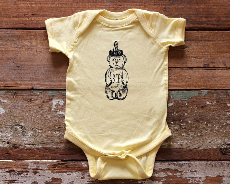 Honey Bear Bee Sweet Baby Creeper One Piece Body Suit   Yellow   Great  Gender Neutral