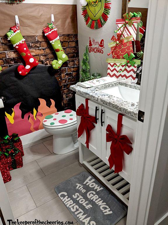 Grinch Bathroom Ideas The Keeper Of The Cheerios Christmas Apartment Grinch Christmas Decorations Christmas Bathroom Decor
