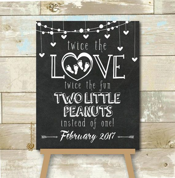 Personalized Twin Pregnancy Announcement by CherryImprintDesign