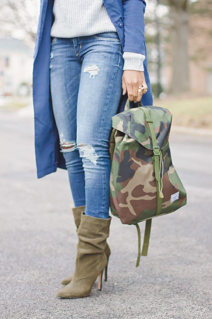 "alt=""camo backpack, olive booties"""