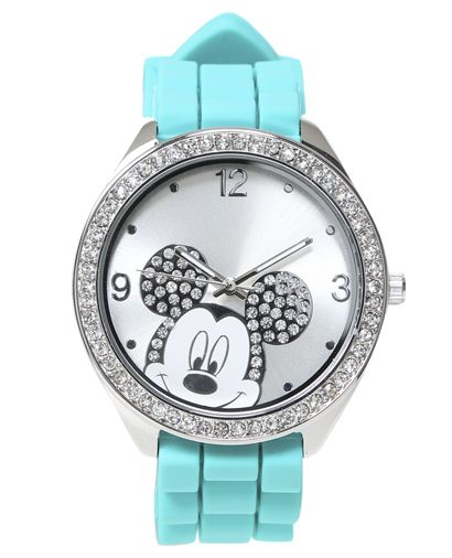 Mickey Mouse Rubber Watch from Wet Seal  #turquoise #rhinestones #disney