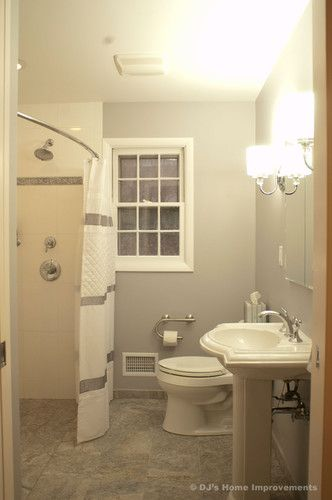Universal Design Bath Remodel - contemporary - bathroom - new york - DJ's Home Improvements - integrated grab bar and toilet paper holder, curved shower rod allows more space, no step