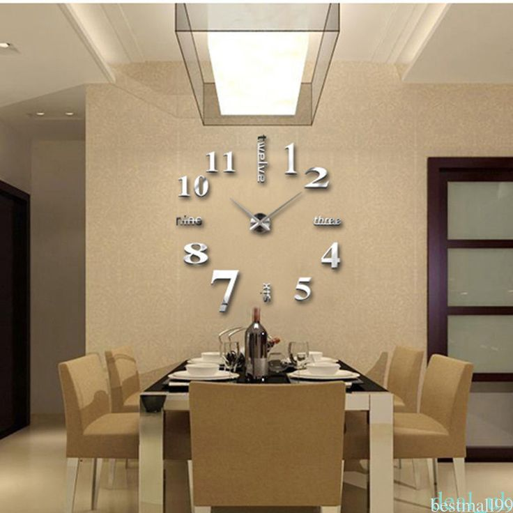 Modern Large Diy Wall Clock 3D Number Sticker Home Office Study Room Decor Rb2T