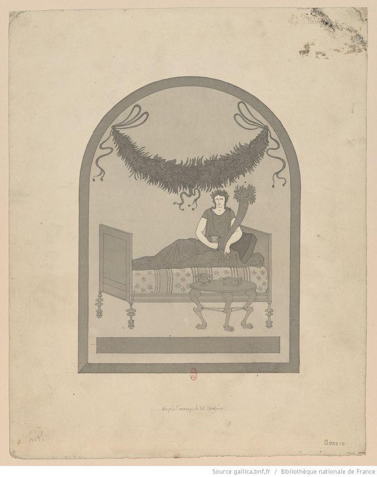 ... [Peinture décorant la niche d'un laraire] d'après l'ouvrage de M. Mazois : [un motif représentant une divinité, assise sur un lit et tenant une corne ...