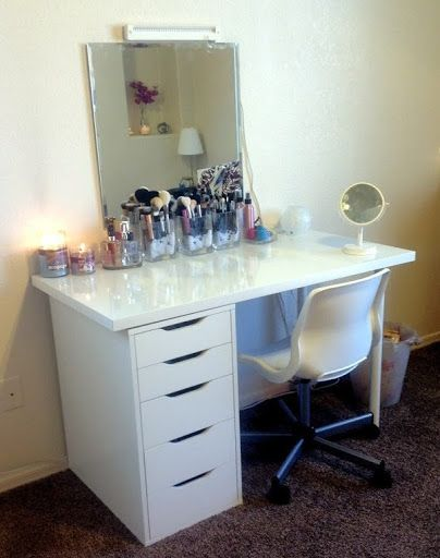 great IKEA combo vanity desk via Kaykre, i have  that same chair and a similar IKEA desk, i could so do this!