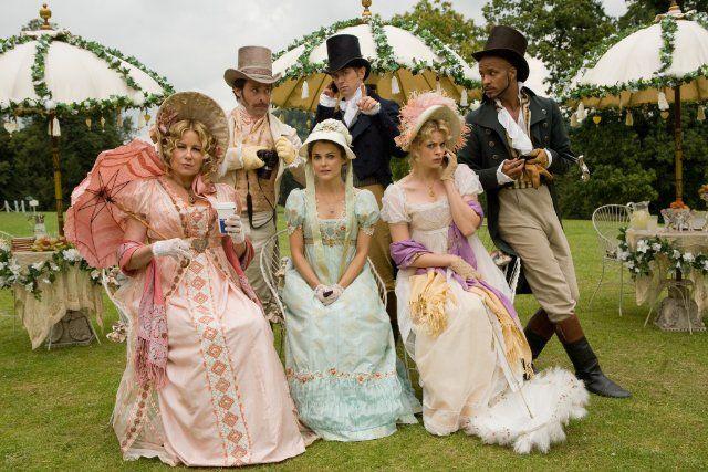 Keri Russell, James Callis, Jennifer Coolidge, JJ Feild, Ricky Whittle and Georgia King in Austenland