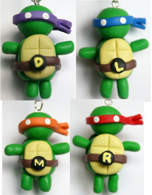 Polymer Clay TMNT Charms by ~dorkanddiva on deviantART
