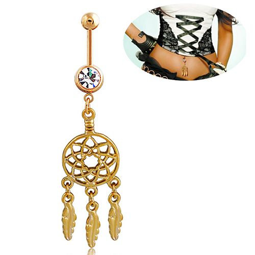 2016 New Dream Catcher Navel Barbell Rhinestone Piercing Belly Button Ring Gold-tone Bar Navel Decoration This belly navel ring bar ...