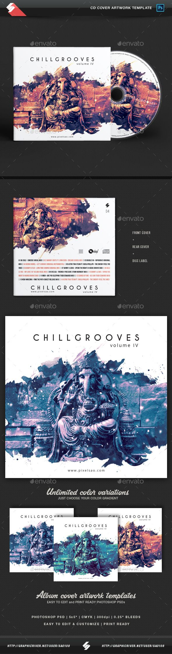 Chill Grooves Vol.4   Chillout CD Cover Artwork Template