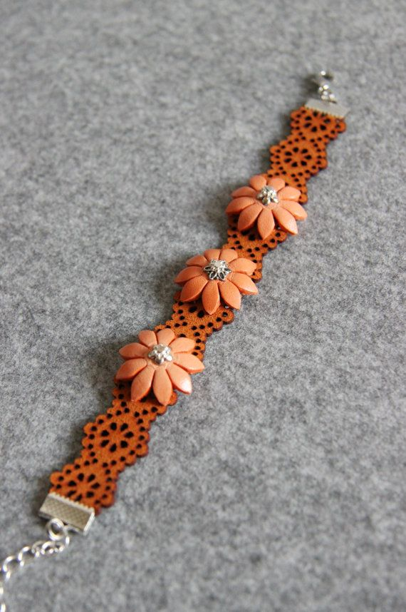 Orange Bracelet Orange Leather Bracelet Leather by NaTavelli